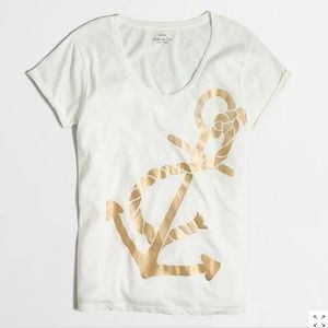 J Crew Metallic Anchor Collector T Shirt White XS
